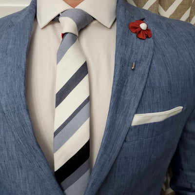 White Grey Striped Tie