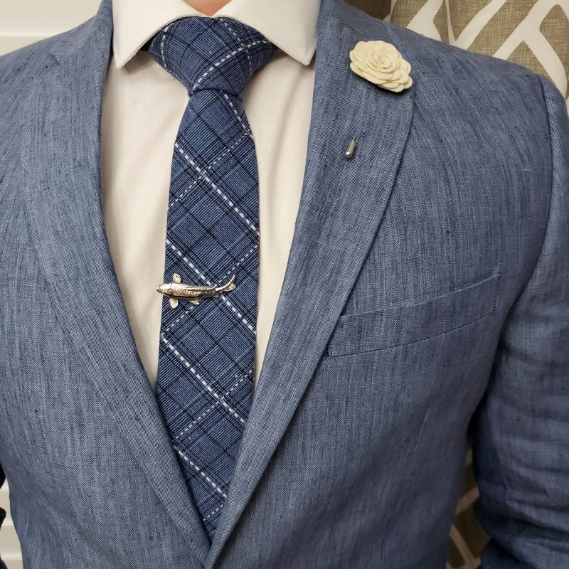 Plaid Stitches Blue Tie