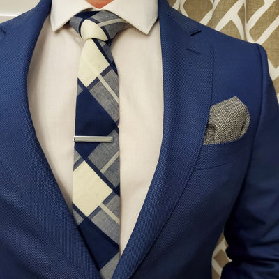Plaid Navy Blue Tie
