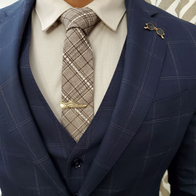 Plaid Stitches Brown Tie