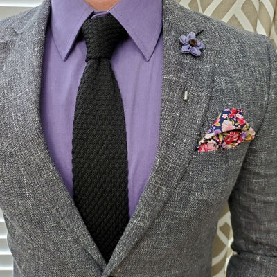 Knit Point Slate Tie