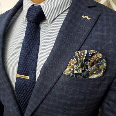Knit Point Navy Tie