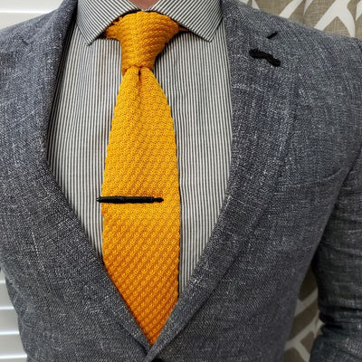 Plaid Yellow Knitted Point Tie