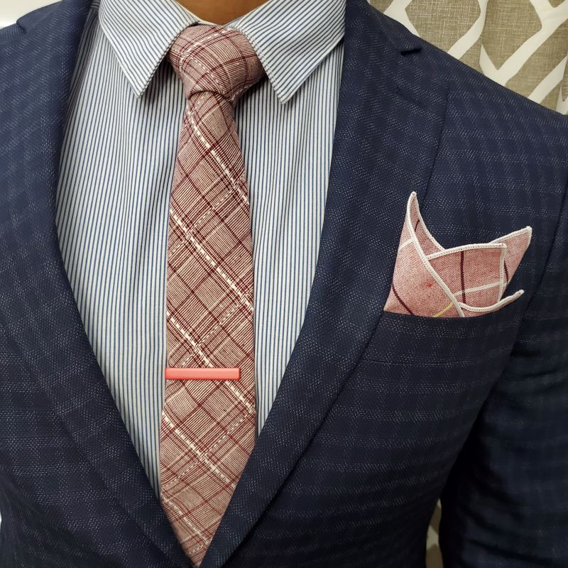 Plaid Stitches Burgundy Tie