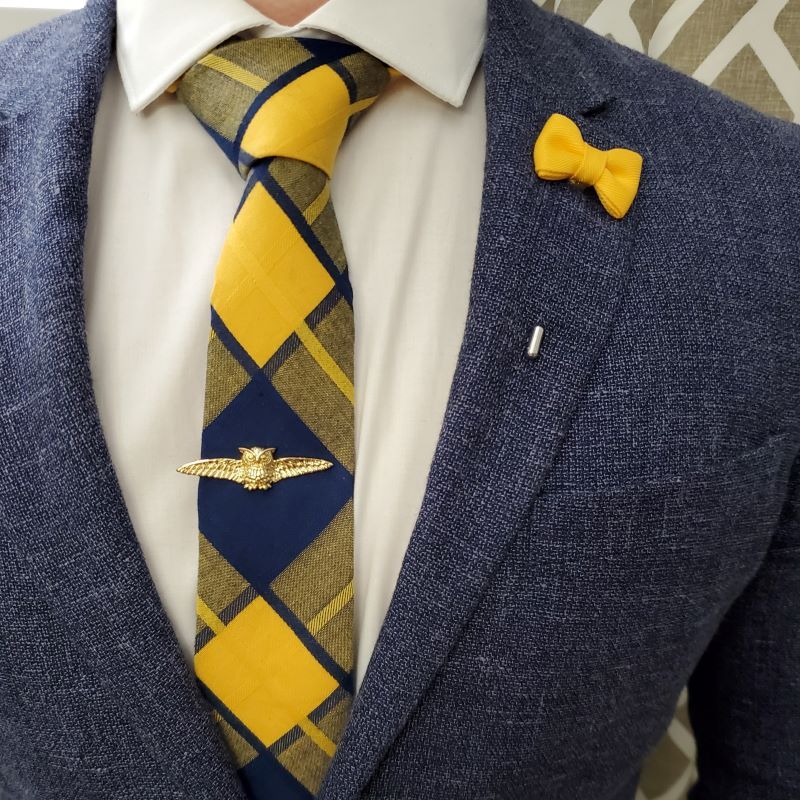 Plaid Yellow Navy Tie
