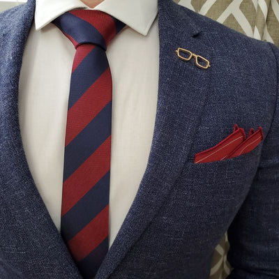 Striped Red Navy Tie
