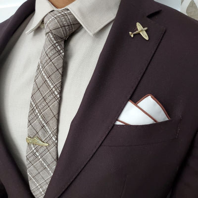 Plaid Stitches Brown Tie Set
