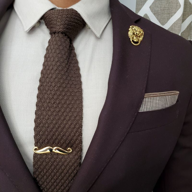 Knitted Point Brown Tie Set