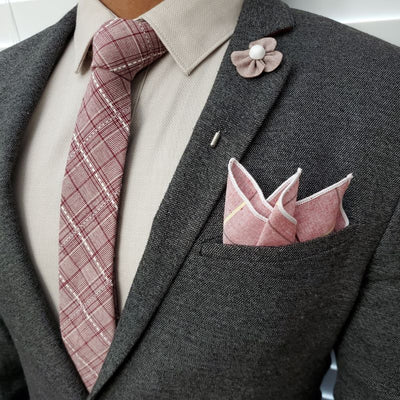 Plaid Stitches Burgundy Tie Set