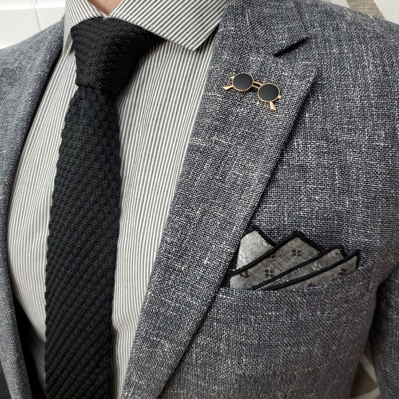 Knitted Point Slate Tie Set