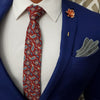 Paisley Medallion Burgundy Tie Set with a blue suit