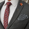 Paisley Medallion Burgundy Tie Set with a grey suit