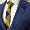 Plaid Yellow Navy Tie Set with a blue suit