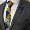 Plaid Yellow Navy Tie Set with a charcoal suit