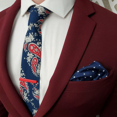 Paisley Navy Tie Set with a burgundy suit