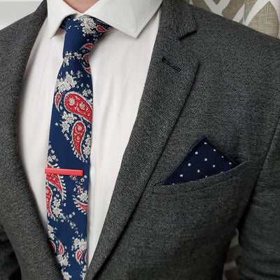 Paisley Navy Tie Set with a charcoal suit