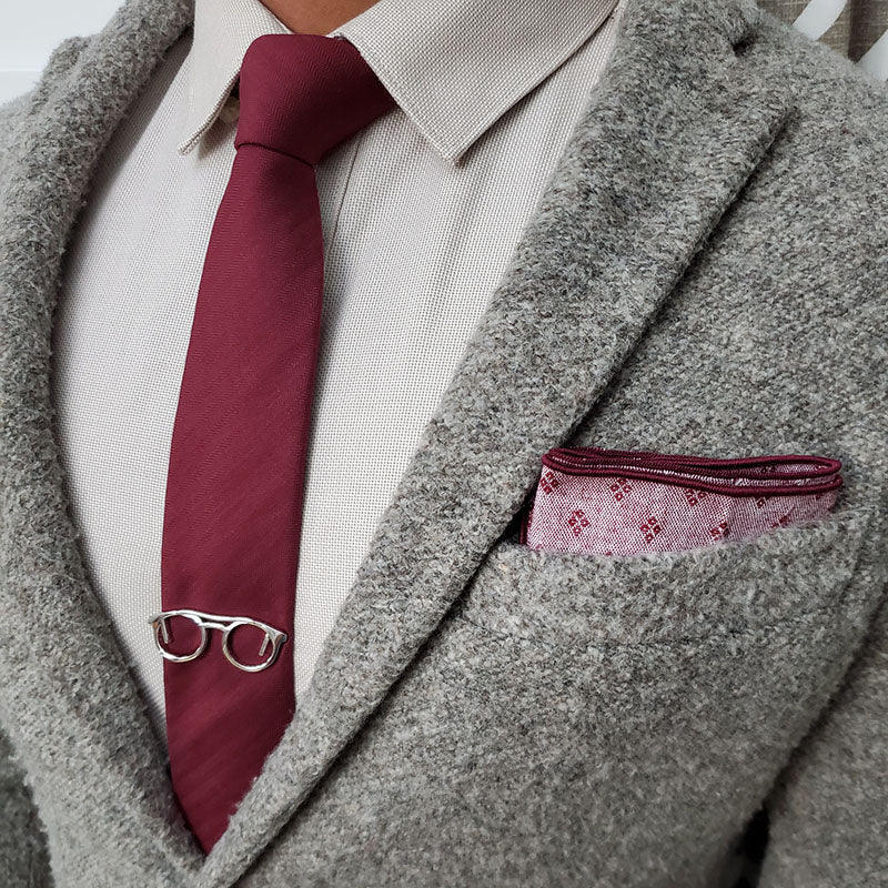 Solid Herringbone Burgundy Tie Set