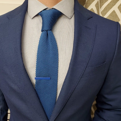 Knitted Sky Blue Tie with a blue suit