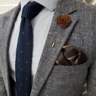 Downtown Striped Brown Pocket Square