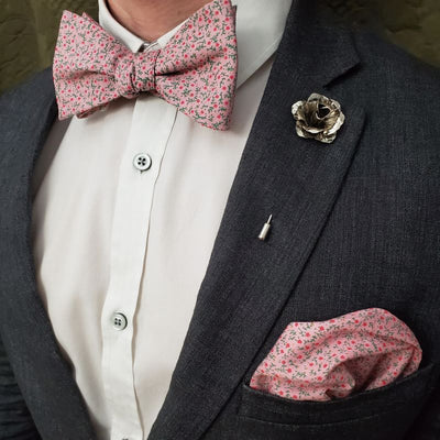 Pocket Square - Floral Strawberry Field Pocket Square