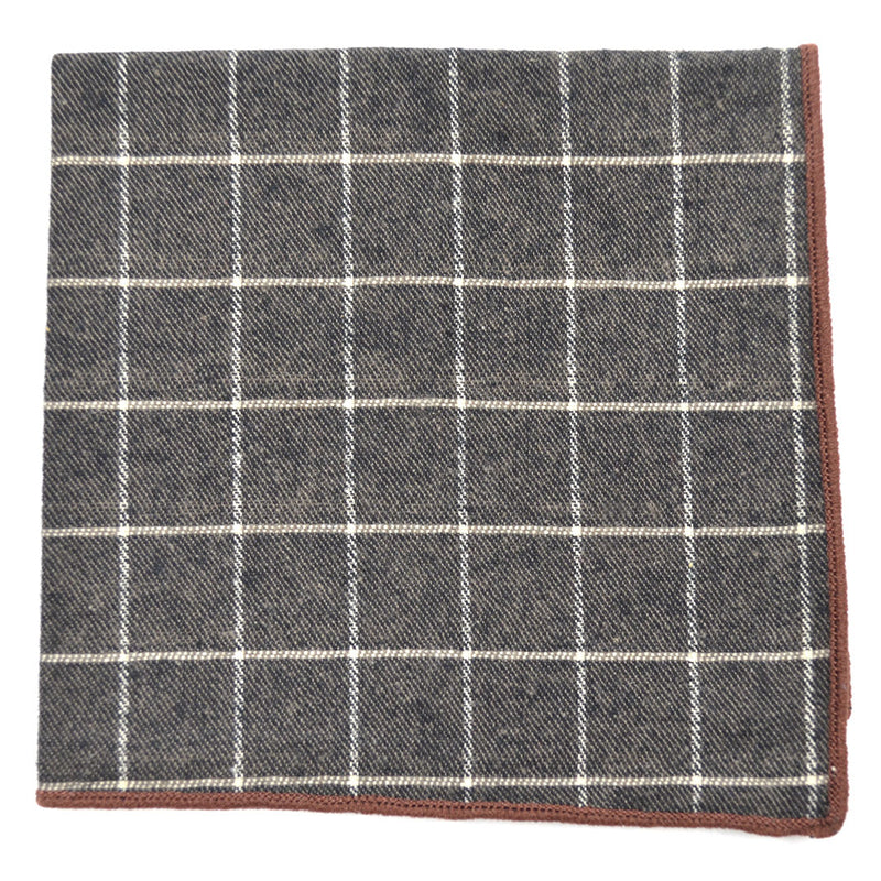 Checkered Aegean Brown Pocket Square