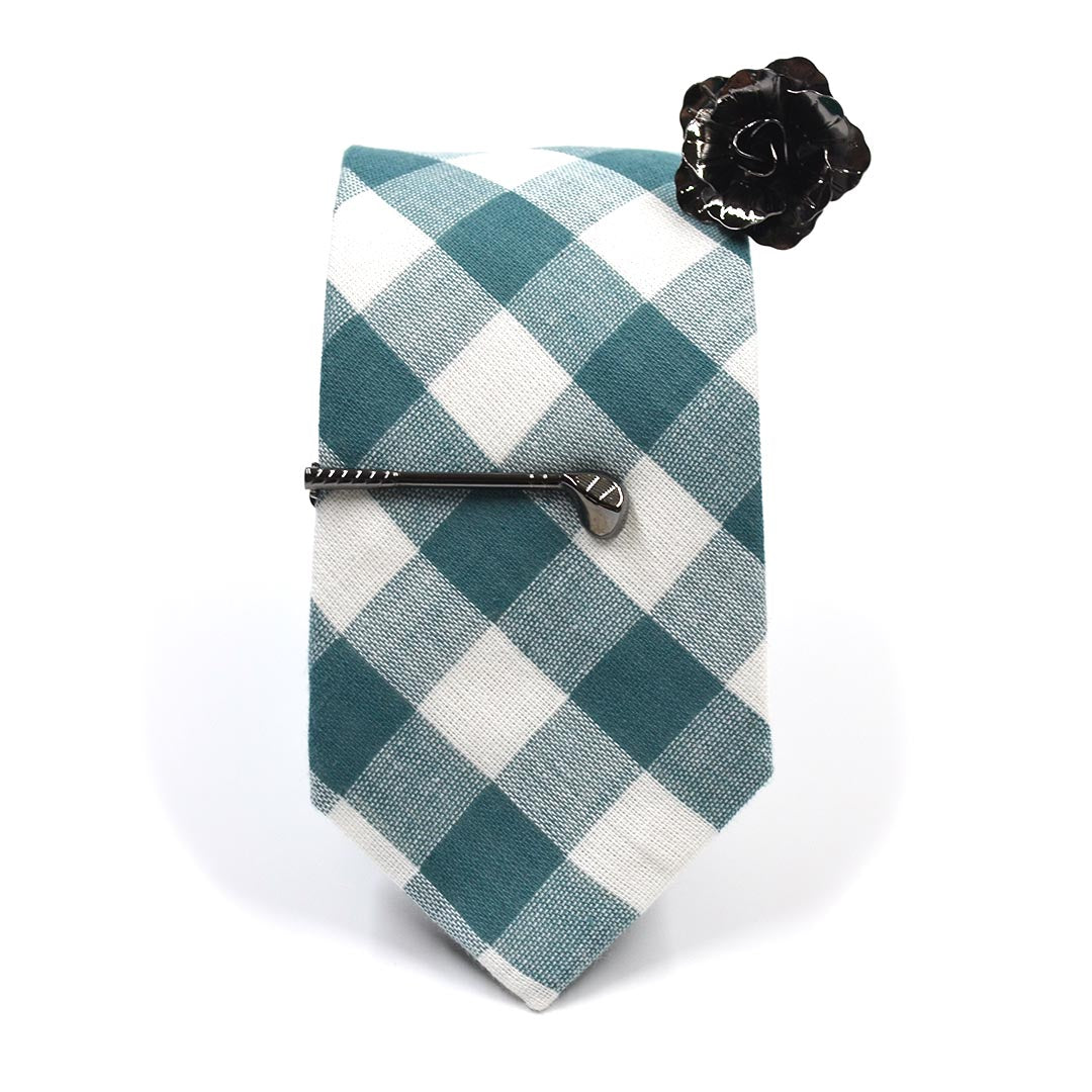 Checkered Hunter Green Tie Set