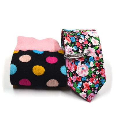 Floral Cotton Candy Tie and Sock Set