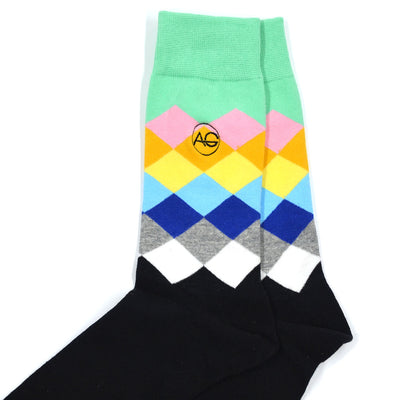 Diamond Black/Green Men's Socks