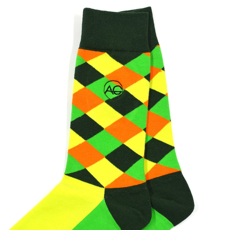 Diamond Striped Green Men's Socks