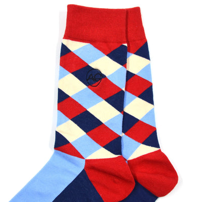 Diamond Striped Red/Blue Men's Socks