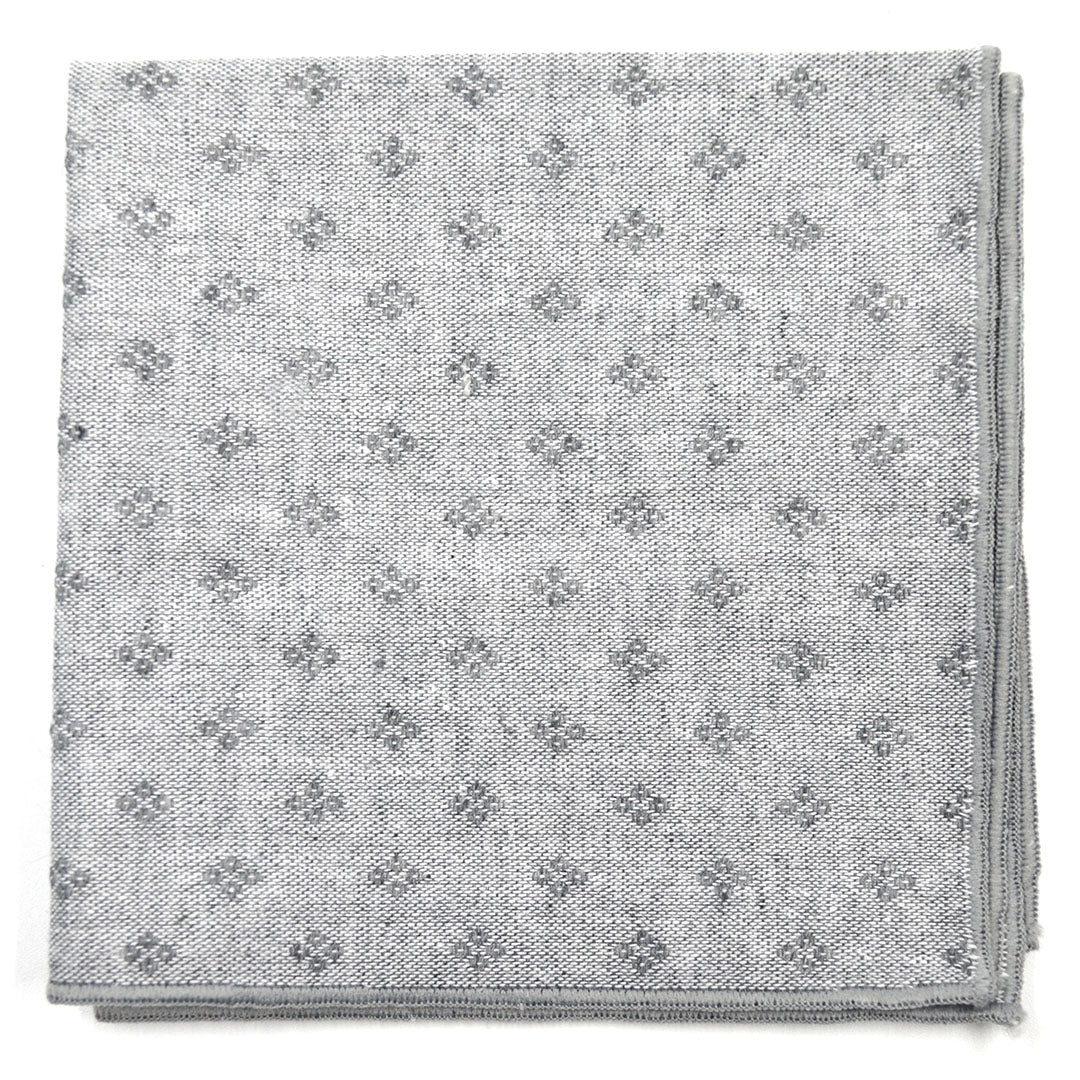 Diamond Polka Dot Grey Pocket Square