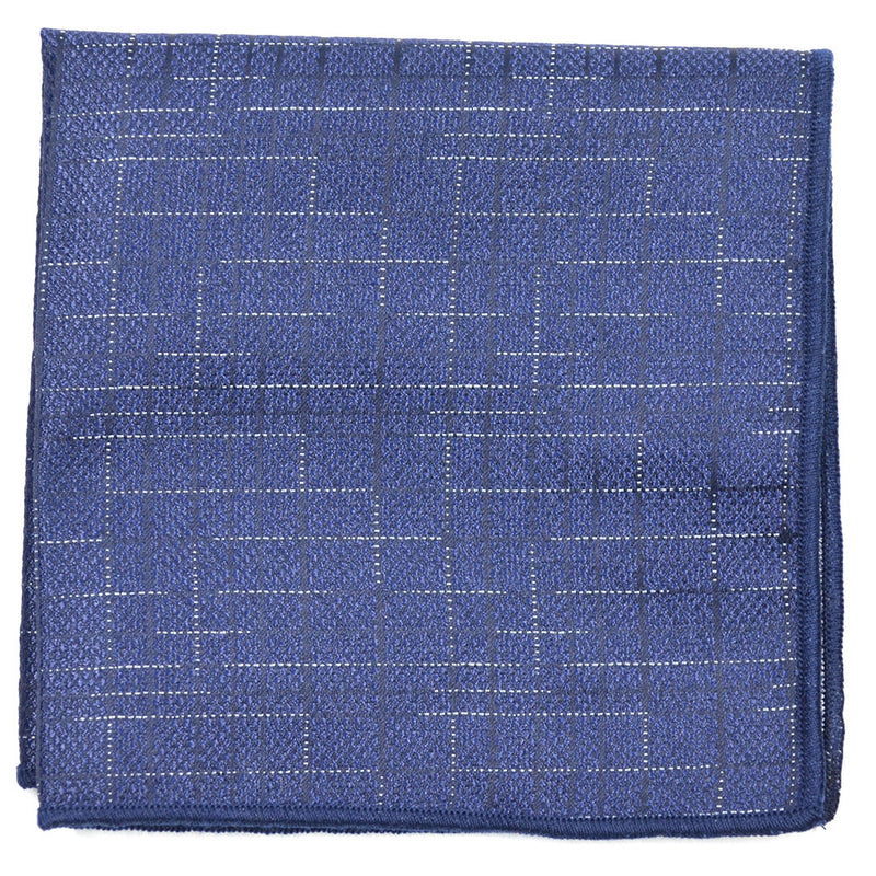 Downtown Check Blue Pocket Square