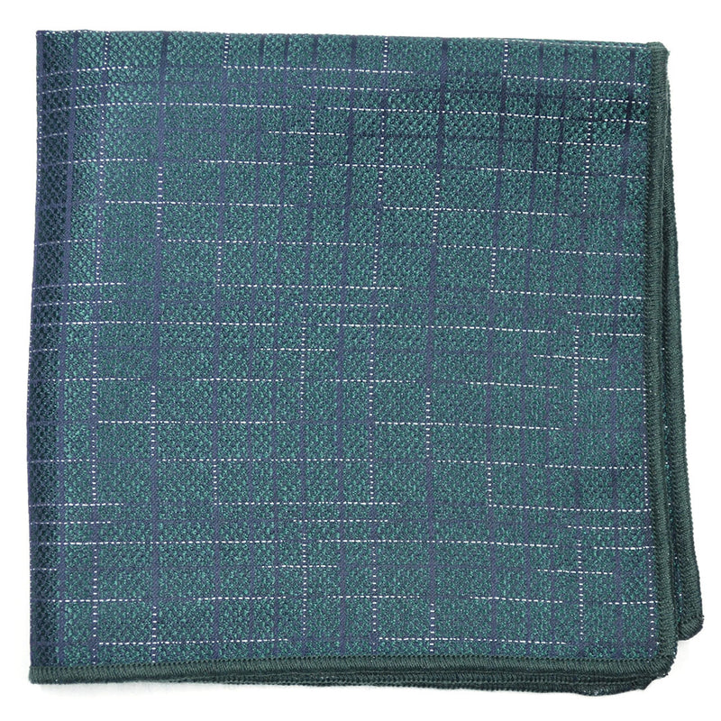 Downtown Check Green Pocket Square