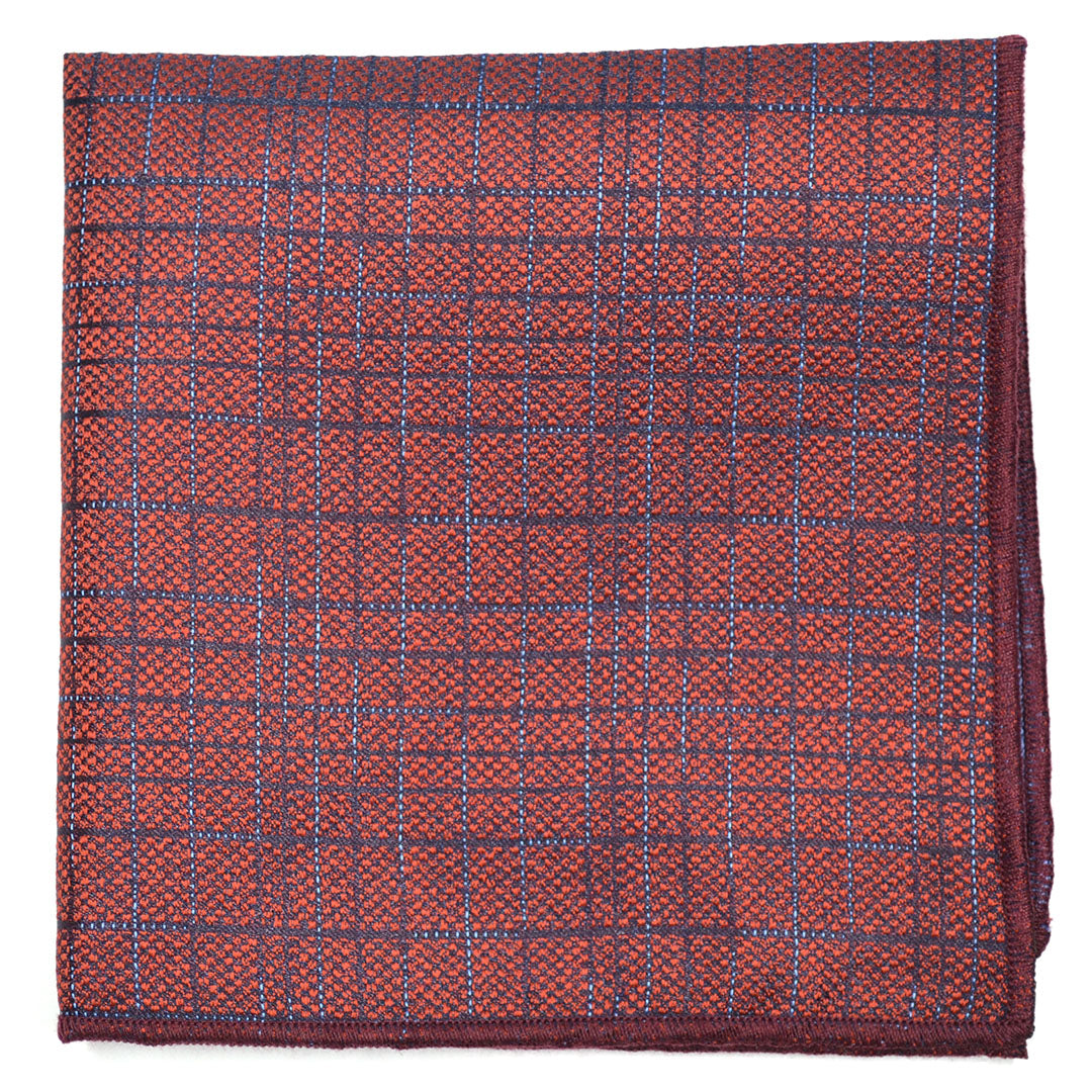 Downtown Check Red Pocket Square