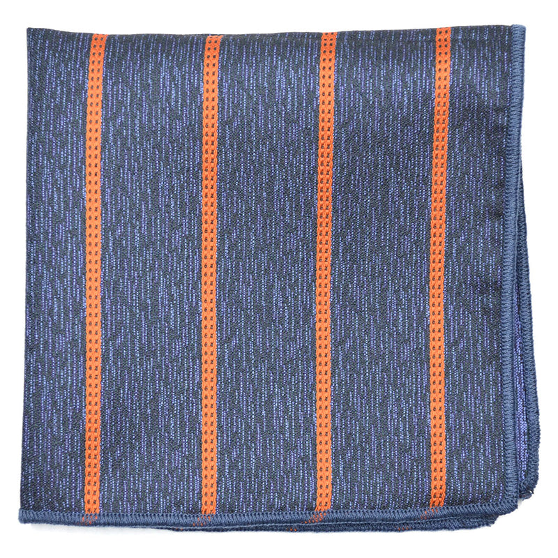 Downtown Striped Navy Pocket Square