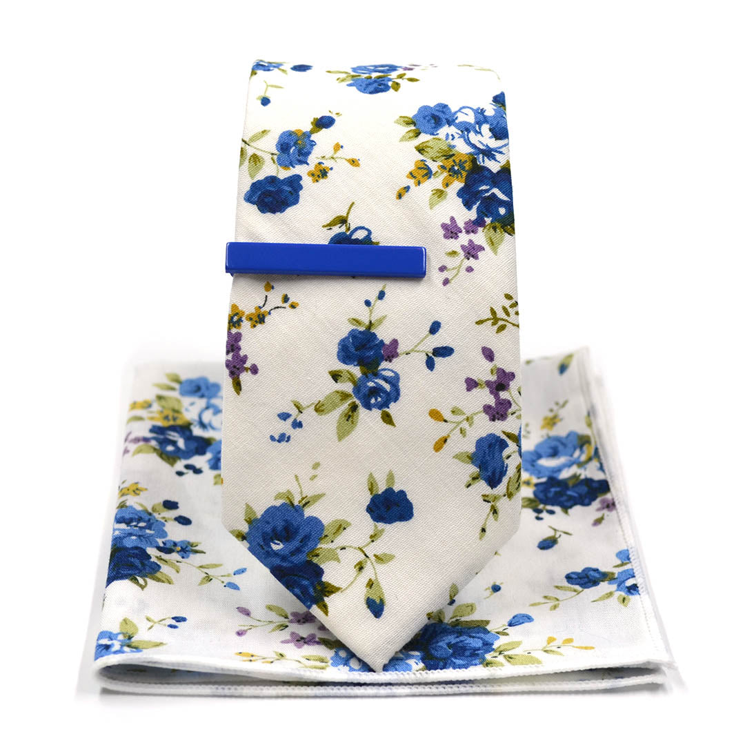 Floral Blueberry Tie Set