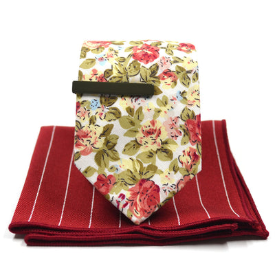 floral red tie set