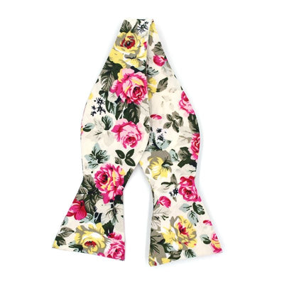 floral white bow tie