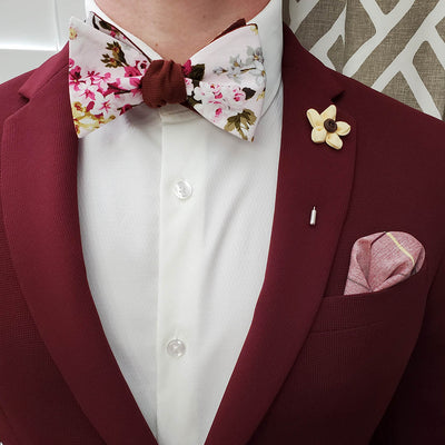 Floral White Linen Bow Tie