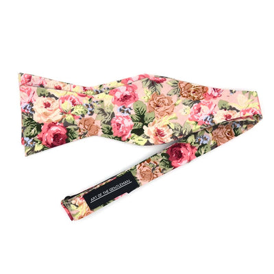 Floral Beige Carnation Bow Tie