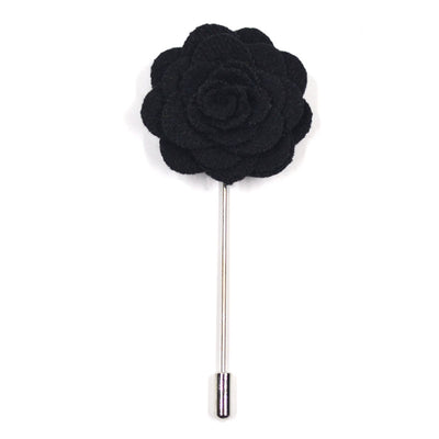 Lapel Pin - Floral Black