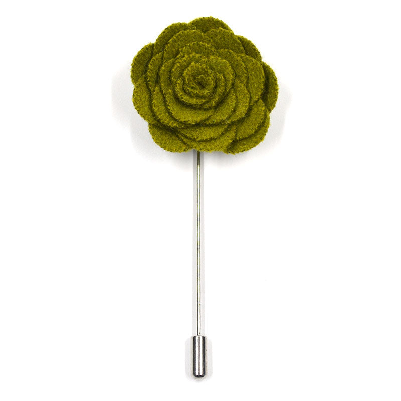 Lapel Pin - Floral Forest Green