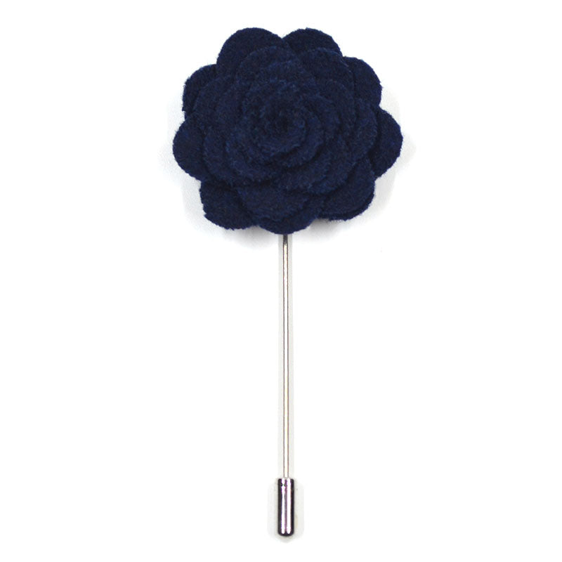 Lapel Pin - Floral Navy