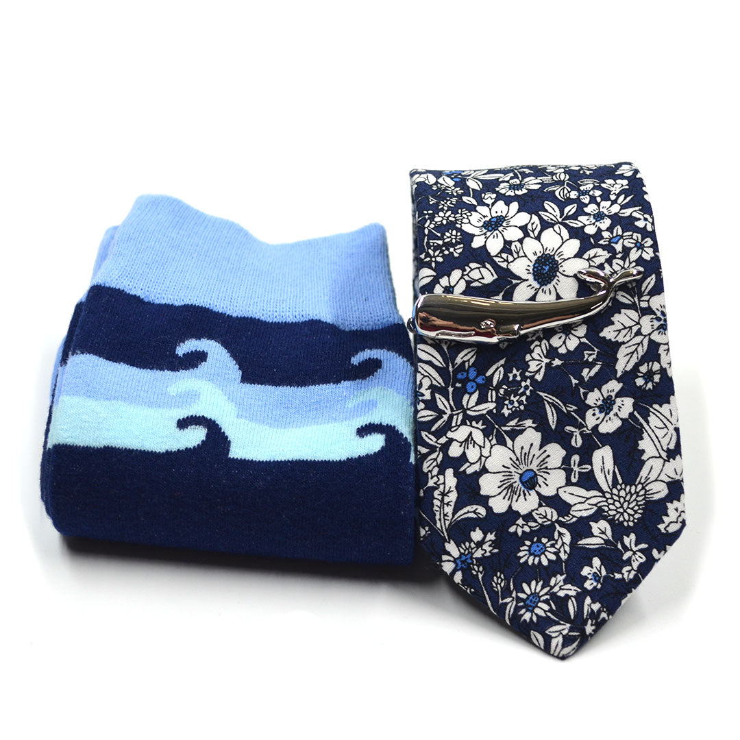 Floral Deep Navy Tie and Sock Set