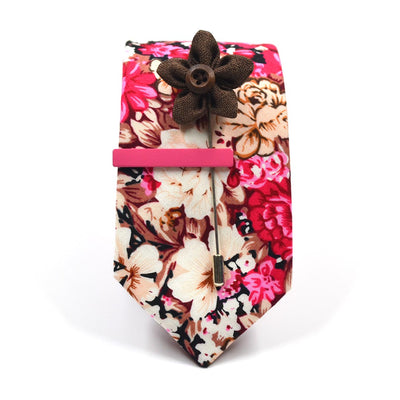 Floral Ruby Blossoms Tie Set