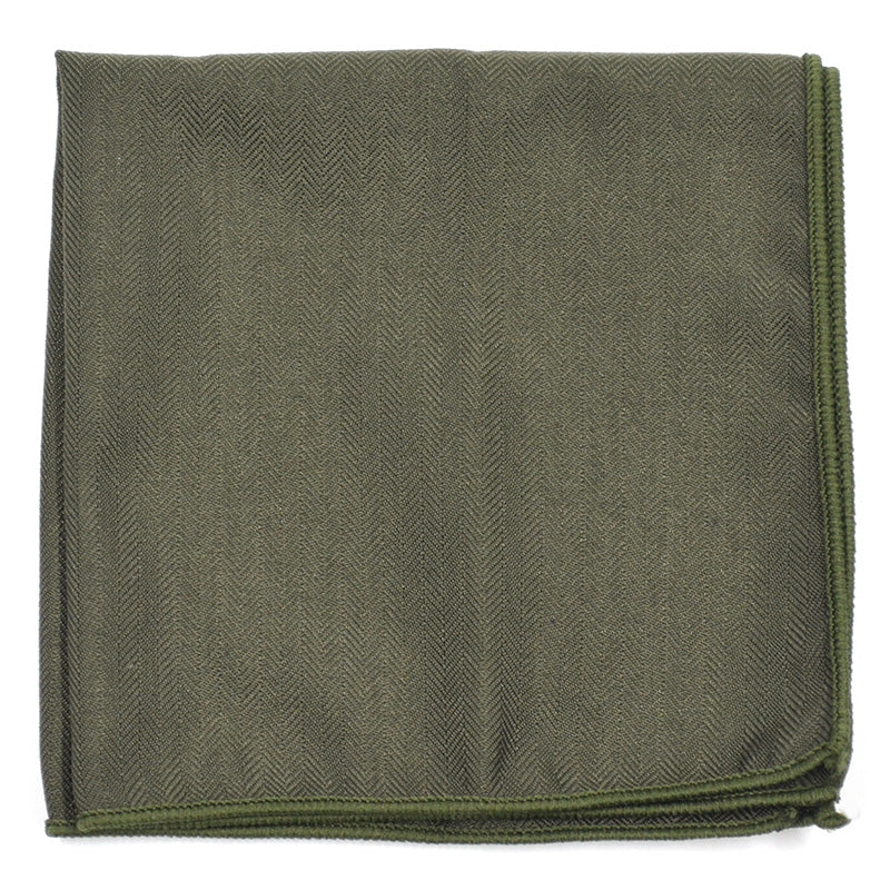 Solid Olive Pocket Square