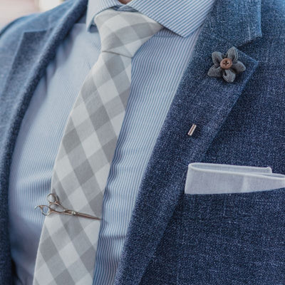 Checkered Heather Grey Tie Set