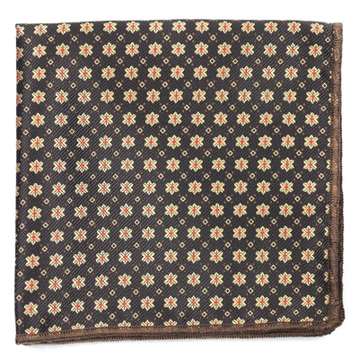 Jacquard Mini Brown Pocket Square