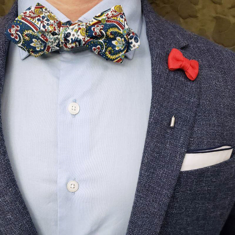 Jacquard Ocean Blue Bow Tie Set