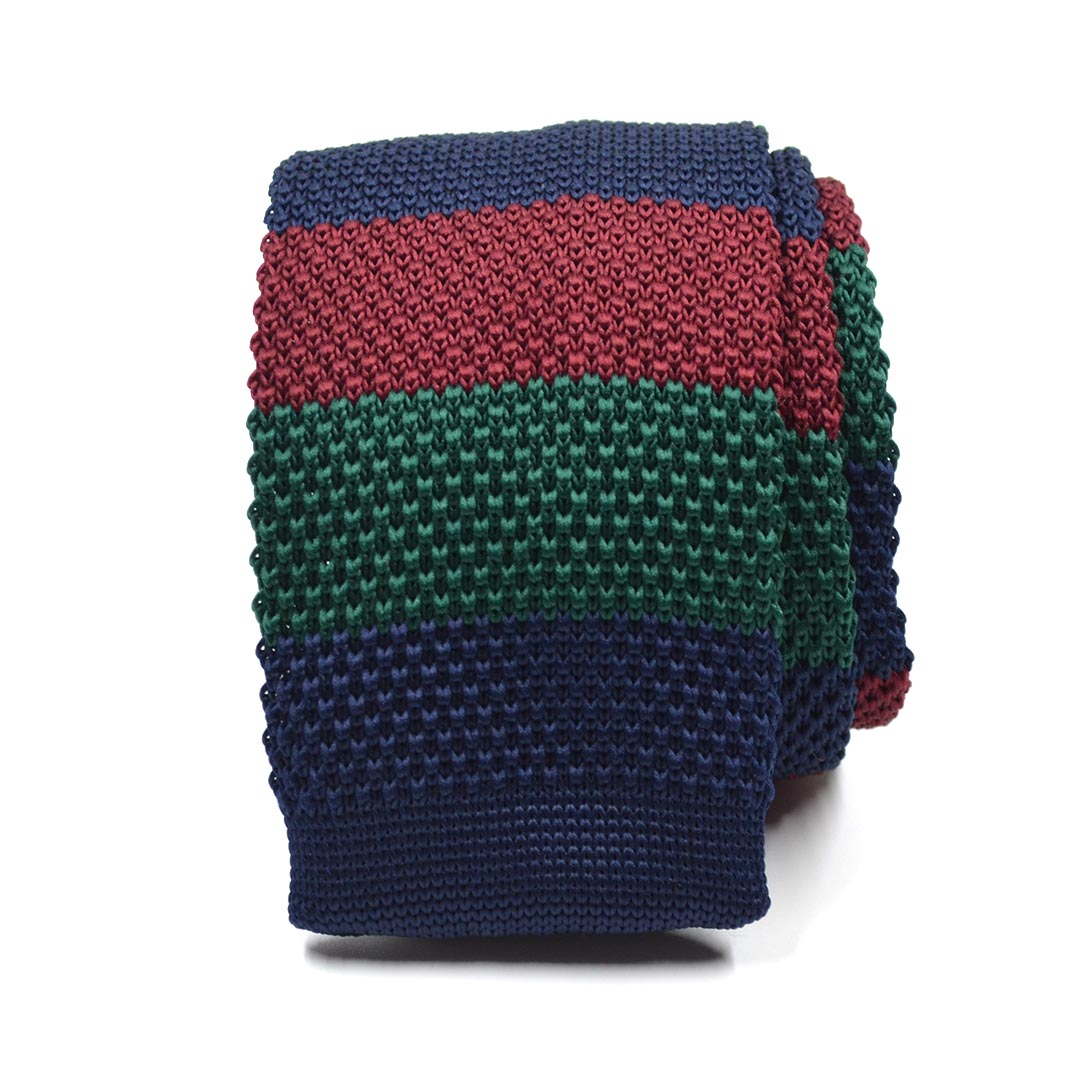 Knitted Navy Green Burgundy Tie
